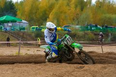 Yakovlev Denis 717. SERPUKHOV, RUSSIA - OCTOBER 7, 2017: Yakovlev Denis 717,  Class MX - absolute cross-country, in the 4 stage  MX series, the Red Wings Cup Stock Photo
