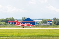 Yakovlev jak-130 subsone twee-Seat gevorderde straaltrainer Royalty-vrije Stock Foto's