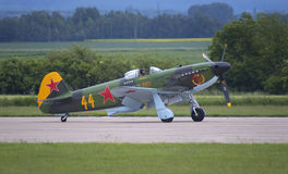 Yakovlev Yak-3. Taxiing at Pardubice airport during airshow Stock Images
