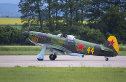 Yakovlev Yak-3. Taxiing at Pardubice airport during airshow Stock Image