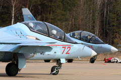 Yakovlev Yak-130 training airplanes of Russian air force during Victory Day parade rehearsal at Kubinka air force base. KUBINKA, MOSCOW REGION, RUSSIA - APRIL Royalty Free Stock Image