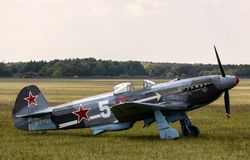 Yakovlev Yak-3. Was a World War II Soviet fighter aircraft. Robust and easy to maintain, it was very much liked by pilots and ground crew alike Royalty Free Stock Image