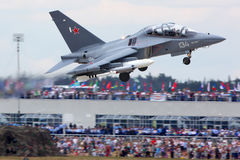 Yakovlev Yak-130 134 WHITE shown at 100 years anniversary of Russian Air Forces in Zhukovsky. Stock Photo