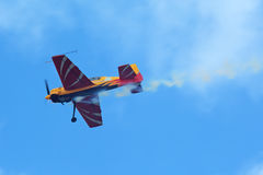 Yakovlev Yak-54. ZHUKOVSKY, MOSCOW REGION, RUSSIA - AUG 29, 2015: A demonstration flight of the aerobatic team First flight on Yakovlev Yak-54 plane at the Royalty Free Stock Images