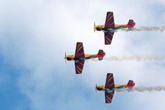 Yakovlev Yak-52. ZHUKOVSKY, MOSCOW REGION, RUSSIA - AUG 29, 2015: A demonstration flight of the aerobatic team First flight on Yakovlev Yak-52 plane at the Royalty Free Stock Images