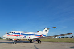 The Yakovlev Yak-40. ZHUKOVSKY, MOSCOW REGION, RUSSIA - AUG 24, 2015: The Yakovlev Yak-40 Integrated modular avionics is a small passenger plane for local Royalty Free Stock Image