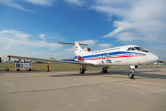The Yakovlev Yak-40. ZHUKOVSKY, MOSCOW REGION, RUSSIA - AUG 26, 2015: The Yakovlev Yak-40 Integrated modular avionics is a small passenger plane for local Stock Photo