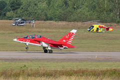 Yakovlev Yak-130. ZHUKOVSKY, MOSCOW REGION, RUSSIA - AUG 27, 2015: Yakovlev Yak-130 (NATO reporting name: Mitten) is a subsonic two-seat advanced jet trainer/ Stock Photos
