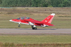 Yakovlev Yak-130. ZHUKOVSKY, MOSCOW REGION, RUSSIA - AUG 27, 2015: Yakovlev Yak-130 (NATO reporting name: Mitten) is a subsonic two-seat advanced jet trainer/ Royalty Free Stock Image