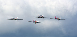 Yakovlevs aerobatic formation display team Royalty Free Stock Photo
