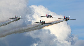 Yakovlevs aerobatic formation display team Stock Photo