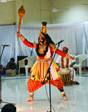 Yakshagana dancer enacting in a show. Popular Yakshagana artist,Sri Keremane Shivananda Hegde,striking a pose during a folk dance show in NITIE, a Mumbai based B Stock Photos