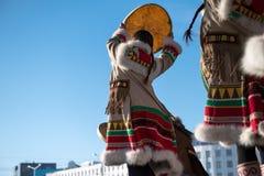 Yakutsk Yakutia/Ryssland Maj 21 2019: Ber?m av en viktig h?ndelse - medr?knandet av ?tta omr?den av Yakutia i Arcten royaltyfri foto