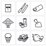 Yakuza, Japans organized crime icons set. Vector Illustration. Stock Images