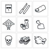 Yakuza, Japans organized crime icons set. Vector Illustration. Stock Images