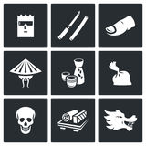 Yakuza, Japans organized crime icons set. Vector Illustration. Stock Photography