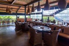 YALA,斯里兰卡- 2016年12月10日:桂香狂放的餐馆内部在Yala 免版税库存图片