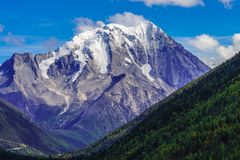 The YaLa snow mountian. The clear autumn scenery of the YaLa snow mountain located in Sichuan Province , china Royalty Free Stock Images