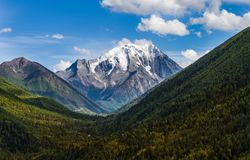 The YaLa snow mountian. The clear autumn scenery of the YaLa snow mountain located in Sichuan Province , china Stock Photos