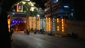 Traffic road at Mongkolrit Road Tunnel Betong city in Yala, Thailand at night. YALA, THAILAND - August 16 : Traffic road and thai travelers people travel visit stock footage