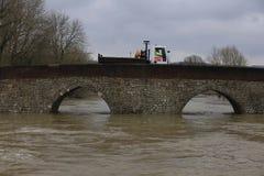 Yalding Bridge. Yalding Flooding in Kent England United Kingdom  31st January 2014 Royalty Free Stock Photography