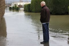 Yalding Flood. Home owner effected by Flooding in  Yalding Kent England United Kingdom  31st January 2014 Royalty Free Stock Image