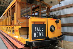 The Yale Bowl Trolley, one of many on display,Seashore Trolley Museum,Kennebunkport,Maine,2016 Royalty Free Stock Photos
