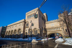 Yale university buildings in winter after snow storm Linus Royalty Free Stock Photo