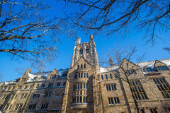 Yale university buildings in winter after snow storm Linus Stock Images