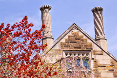 Yale University Sterling Law Building Red Leaves Royalty Free Stock Photography