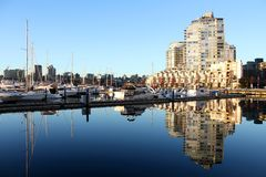 Yaletown Condos and Marina Morning, Vancouver Royalty Free Stock Images