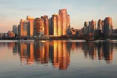 Yaletown ragt Sonnenaufgang, Vancouver hoch stockfoto