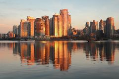 Yaletown Towers Sunrise, Vancouver stock photo