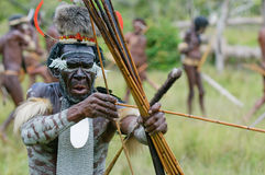 Yali Mabel, chef av den Dani stammen, Papua, Indonesien Royaltyfria Bilder