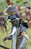 Yali Mabel, leider van Dani stam, Papoea, Indonesië stock foto