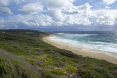 Yallingup beach. Scenic view of Yallingup beach with blue sky and cloudscape background, Western Australia Stock Photos