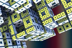 Yallow cube alien structure. 3d rendering Stock Images