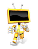 A Yallow TV Character and a boxing play. Create 3D Television Ro Stock Images