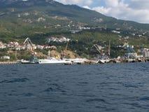 Yalta ładunku handlu port morski, Crimea fotografia royalty free