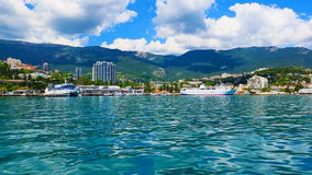 Yalta, Crimea, Ukraine. Scenic summer panorama of Yalta, Crimea, Ukraine stock footage