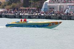 Yalta Grand Prix Powerboat P1 2010. YALTA, UKRAINE - MAY 8: Boat Ukrainian team returned to the technical area., May 8, 2010 in Yalta, Ukraine Royalty Free Stock Image