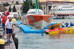 Yalta Grand Prix Powerboat P1 2010. YALTA, UKRAINE - MAY 9: Prepare the boat to be launched on Yalta Grand Prix Powerboat P1 2010, May 9, 2010 in Yalta, Ukraine Royalty Free Stock Photos