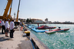 Yalta Grand Prix Powerboat P1 2010. YALTA, UKRAINE - MAY 9:Territory pit stop and the technical area Yalta Grand Prix Powerboat P1 2010, May 9, 2010 in Yalta Stock Photo