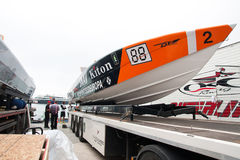 Yalta Grand Prix Powerboat P1 2010. YALTA, UKRAINE - MAY 9: Prepare the boat to be launched on Yalta Grand Prix Powerboat P1 2010, May 9, 2010 in Yalta, Ukraine Stock Image