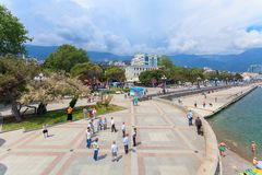 YALTA - MAY 17:People are walking along Embankment Royalty Free Stock Images