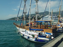 Yalta port. The ships  in Yalta port in beautiful summer day Royalty Free Stock Photo