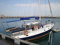Yalta port with yacht Elena. On Black sea Royalty Free Stock Photos