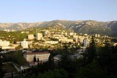 Yalta in the rays of the rising sun. Yalta morning. Summer. In the rays of the rising sun Royalty Free Stock Photos