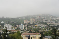 Yalta in the rays of the rising sun. Yalta morning. Summer. It Mists Royalty Free Stock Photos
