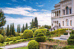 YALTA, RUSSIA - MAY 17, 2016: Livadia Palace in Crimea. Livadia Palace was a summer retreat of the last Russian tsar, Nicholas II. Royalty Free Stock Photo
